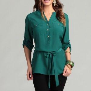 Calvin Klein emerald green button front